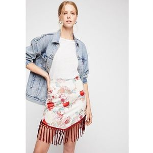 Free People Bali Cher Floral Fringe Silky Skirt